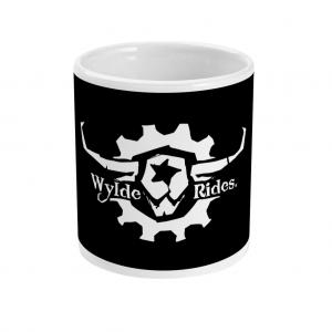 Mug Cup Wylde Rides Ebike Clothing Black & White Bull Skull Logo Design Merch Apparel