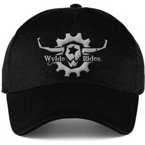 Black Cotton Hat Cap Headwear Wylde Rides Ebike Clothing Black & White Bull Skull Logo Design Merch Apparel