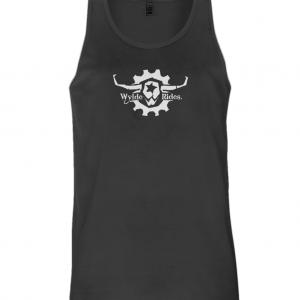 Organic Cotton Vest Wylde Rides Ebike Clothing Black & White Bull Skull Logo Design Merch Apparel