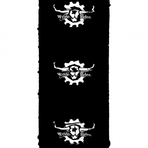 Snood Scarf Mask Face covering Wylde Rides Ebike Clothing Black & White Bull Skull Logo Design Merch Apparel