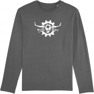Organic Cotton Long Sleeve T-Shirts Wylde Rides Ebike Clothing Black & White Bull Skull Logo Design Merch Apparel Grey