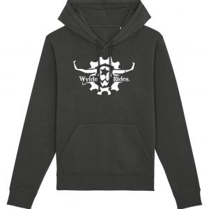 Dark Grey Organic Cotton Hoodie Wylde Rides Ebike Clothing Black & White Bull Skull Logo Design Merch Apparel