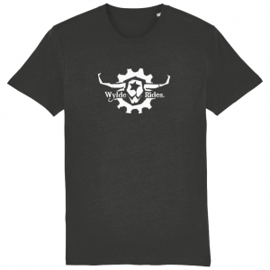 Dark Grey Organic Cotton Short Sleeve T-Shirts Wylde Rides Ebike Clothing Black & White Bull Skull Logo Design Merch Apparel
